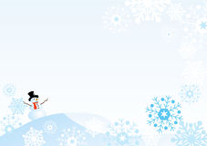 Snowman with snowflakes. Winter scene of snowman with graphic snowflakes Royalty Free Stock Photos