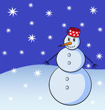 Snowman with snowflakes on the background. Funny snowman at night with white snowflakes on the blue background. Vector illustration Stock Photo