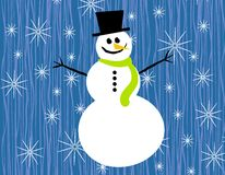 Snowman Snowflakes on Blue. A clip art illustration featuring a snowman wearing hat and scarf set against snowflakes and blue textured background Stock Photography