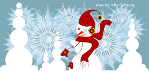 Snowman and snowflakes on christmas card Stock Photography
