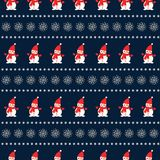 Snowman with snowflakes seamless pattern on blue background. royalty free illustration