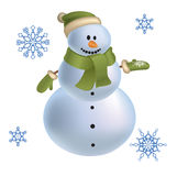 Snowman with snowflakes vector 2012 Royalty Free Stock Photography
