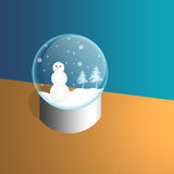 Snowman in a Snowglobe. Illustration of a snow man in a snow globe Royalty Free Stock Photography