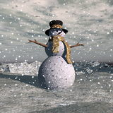 Snowman by snowing evening - 3D render Stock Photo