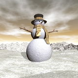 Snowman by snowing evening - 3D render Royalty Free Stock Image