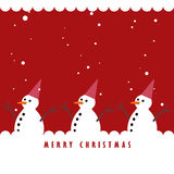 Snowman and the snowing on red background Royalty Free Stock Photos