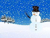 Snowman, snowing. Winter illustration. Royalty Free Stock Photo