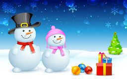 Snowman and Snowlady Stock Photography