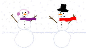 Snowman and Snowlady Childish Drawing Stock Photography