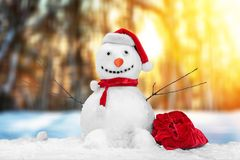 Snowman. Christmas frosty snow ball bauble box royalty free stock images