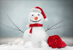 Snowman. Christmas frosty snow ball bauble box stock images