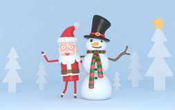 Snowman & Santa in a forest scene. 3d illustration. Isolated. royalty free stock photo