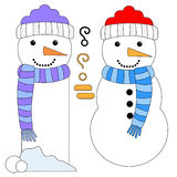 Snowman and Snowman Tag or Bookmark Stock Photography