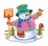 Snowman snowman winter sweeper cap knitted Stock Photography