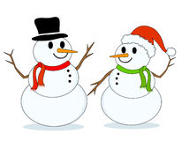 Snowman / snowmen. Two cute snowmen wearing cute santa hat and a black hat isolated on white background stock illustration