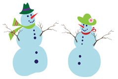 Snowman and snowoman Stock Photo