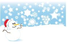 Snowman in snowstorm Stock Photos
