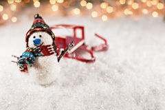 Snowman On Snowy Background Royalty Free Stock Images