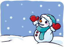 Snowman on a snowy day Stock Image