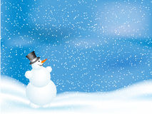 Snowman on snowy night Royalty Free Stock Photos