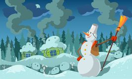 Snowman. Snowy stuffed. Fabulous image. Winter. Vector Image. All elements on layers Royalty Free Stock Photography