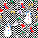 Snowman, Sock, Speech Bubble, Mistletoe, Snowflake. Snowman, socks, speech bubble, mistletoe, snowflakes, champagne glasses seamless pattern on abstract Stock Images