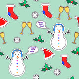 Snowman, Sock, Speech Bubble, Mistletoe, Snowflake. Snowman, socks, speech bubble, mistletoe, snowflakes, champagne glasses seamless pattern. Christmas elements Stock Image