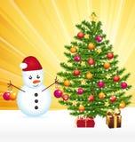 Snowman som dekorerar en joyful jultree. vektor illustrationer
