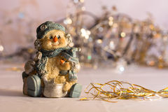 Snowman and son. With ligth and christmas objects Royalty Free Stock Photos