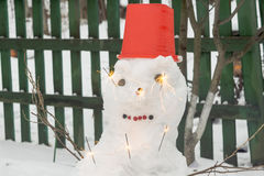 Snowman with Sparkler Stock Images