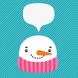 Snowman with speech bubble Stock Images