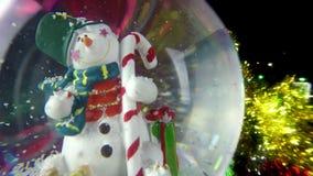 Snowman Sphere on Bokeh Background stock video