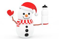 Snowman with Sport Plastic Water Bottle Royalty Free Stock Images