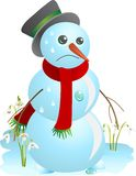 Snowman and spring Royalty Free Stock Photography