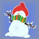Snowman in Spring on Blue Background Royalty Free Stock Image