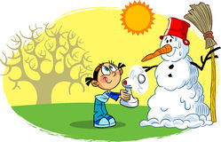 Snowman spring Stock Photo