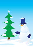 Snowman and spruce Royalty Free Stock Photo