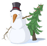 Snowman Spruce, Colored. Cold snowy weather theme cartoon, vector, isolated Stock Image