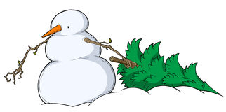 Snowman Spruce Dragging. Cold snowy weather theme cartoon, vector, isolated Royalty Free Stock Image