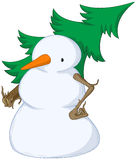 Snowman Spruce Shouldered. Cold snowy weather theme cartoon, vector, isolated Royalty Free Stock Photos
