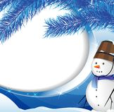 Snowman and spruce twig Stock Photos
