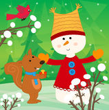 Snowman and Squirrel Royalty Free Stock Photo