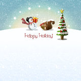 Snowman and Squirrel getting Christmas present Stock Image
