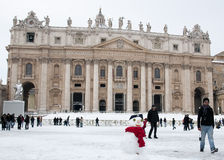 Snowman in St. Peter's square. Snow and snowman in St. Peter's square (Rome, 4 feb 2012 Royalty Free Stock Images