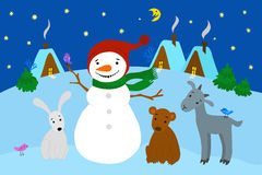Snowman standing with the animals in the New Year's Eve vector illustration