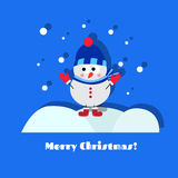 Snowman. Standing snowman blue greeting card Stock Images