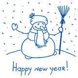 Snowman standing with broom Royalty Free Stock Photography