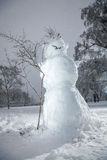 Snowman standing at forest Stock Photos