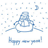 Snowman standing at night Stock Photography