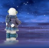 Snowman on a starry night Stock Photography